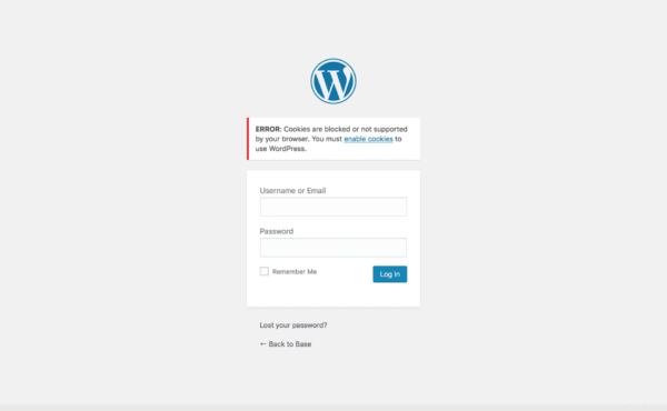 WordPress Multisite: cookies blocked or not supported