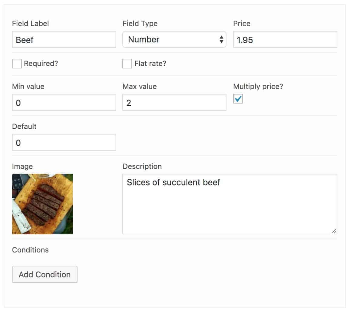 Pizza toppings option WooCommerce