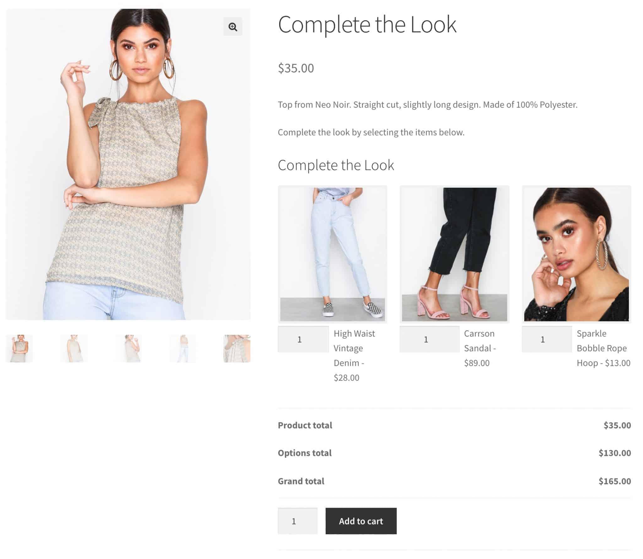 WooCommerce complete the look plugin