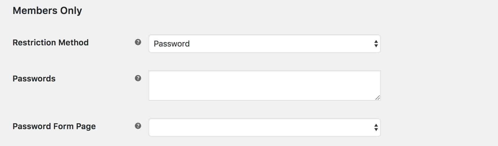 WooCommerce Members Only password settings