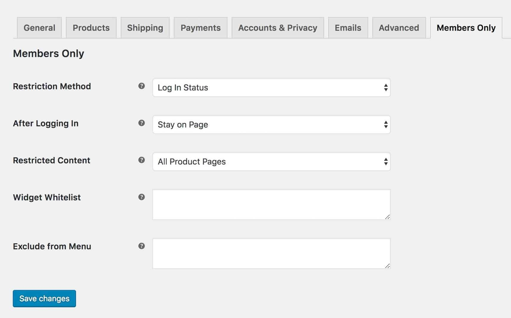 WooCommerce Members Only store settings page