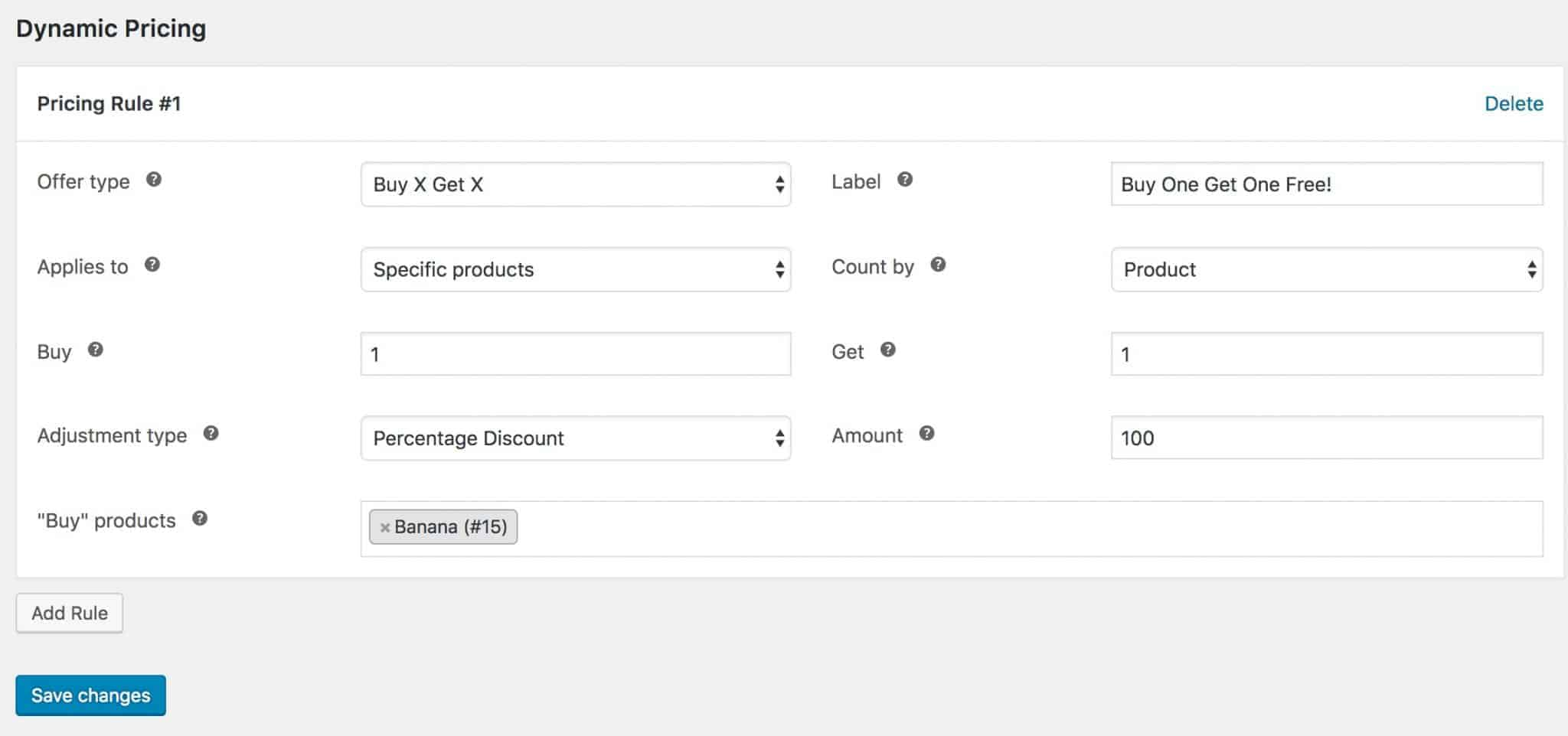 WooCommerce dynamic pricing rule