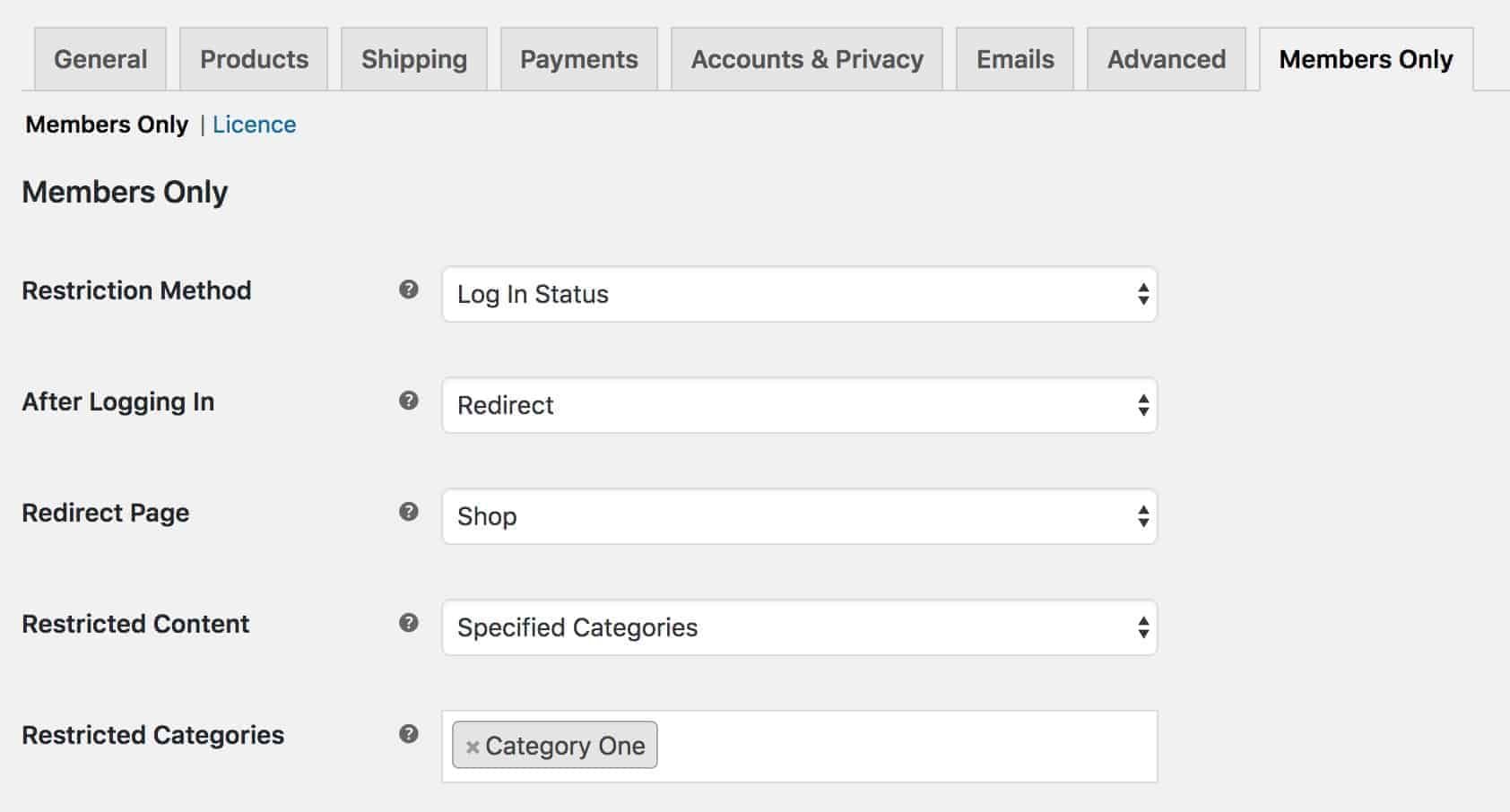 WooCommerce protected categories settings