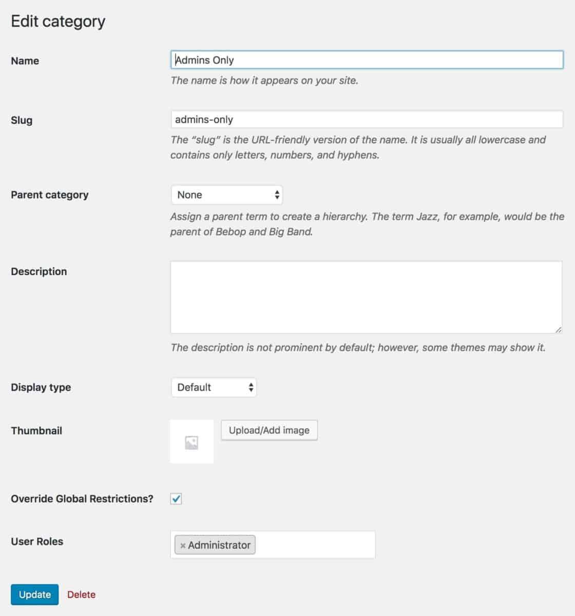 WooCommerce edit categories screen