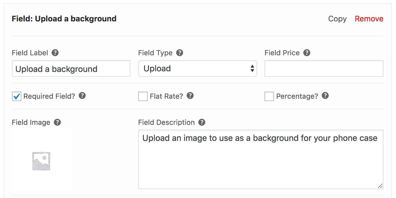 WooCommerce background image file upload field