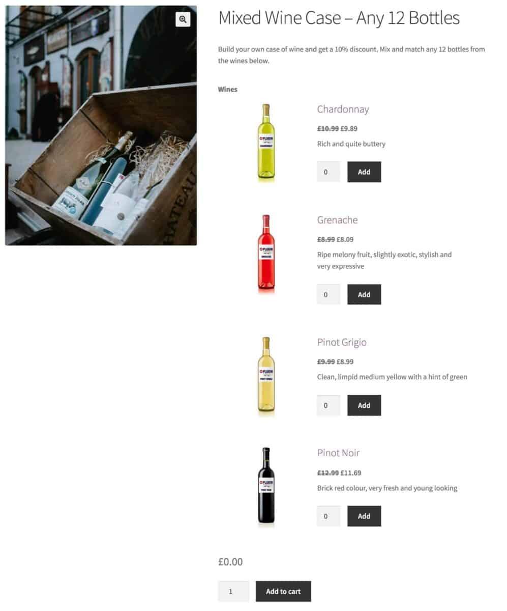 WooCommerce mixed case product