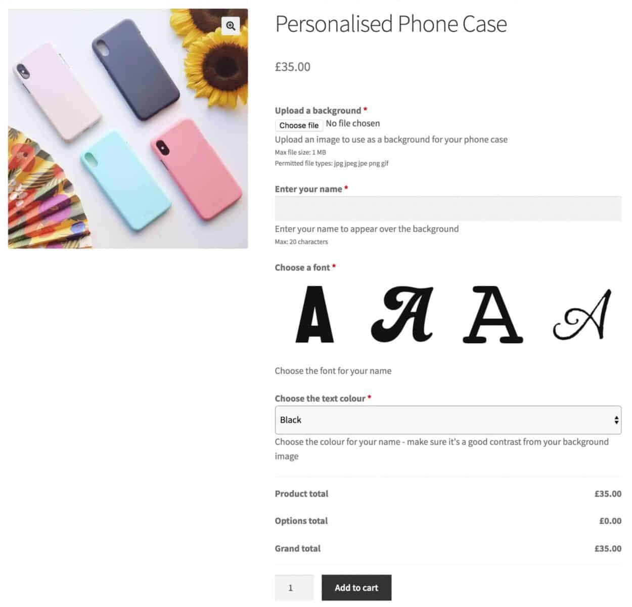 WooCommerce product customizer for personalized phone cases