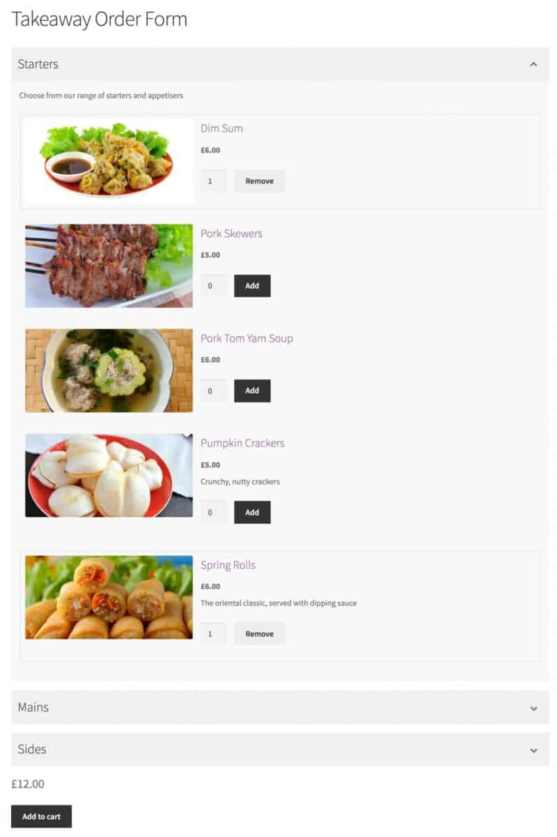 WooCommerce takeaway order form