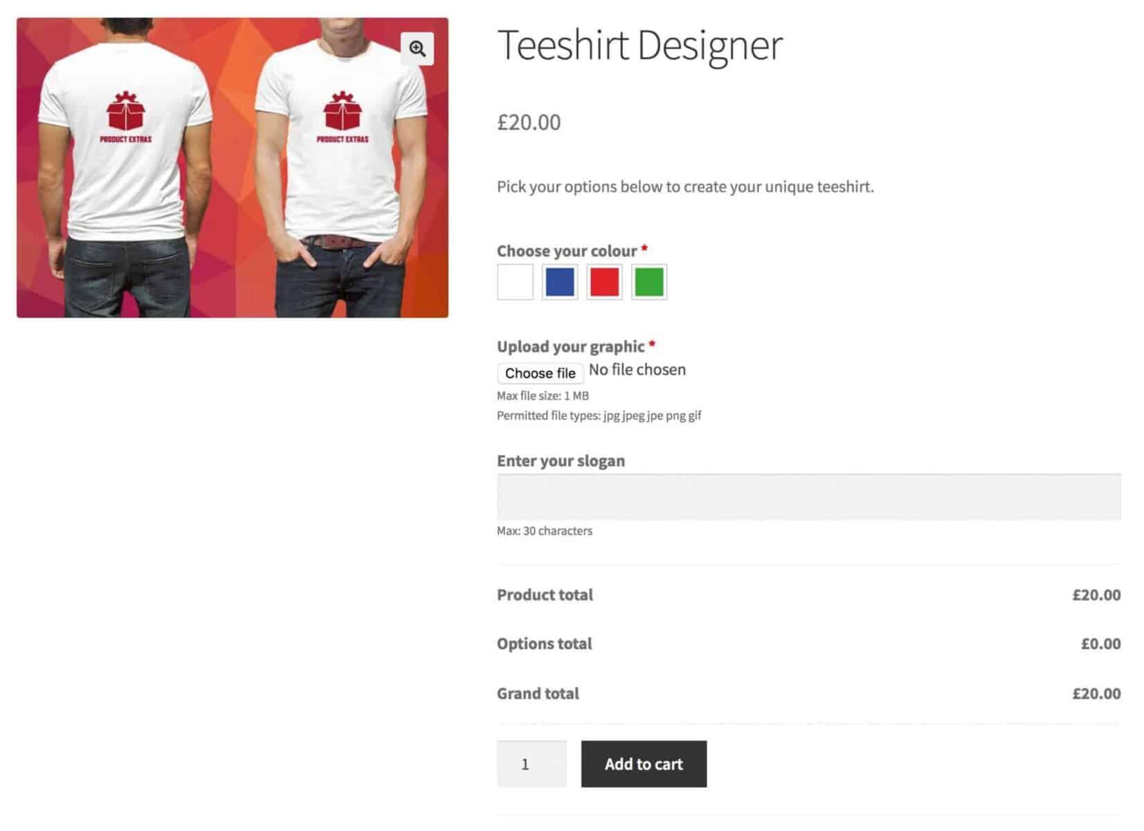 WooCommerce product customizer for tee-shirt designer