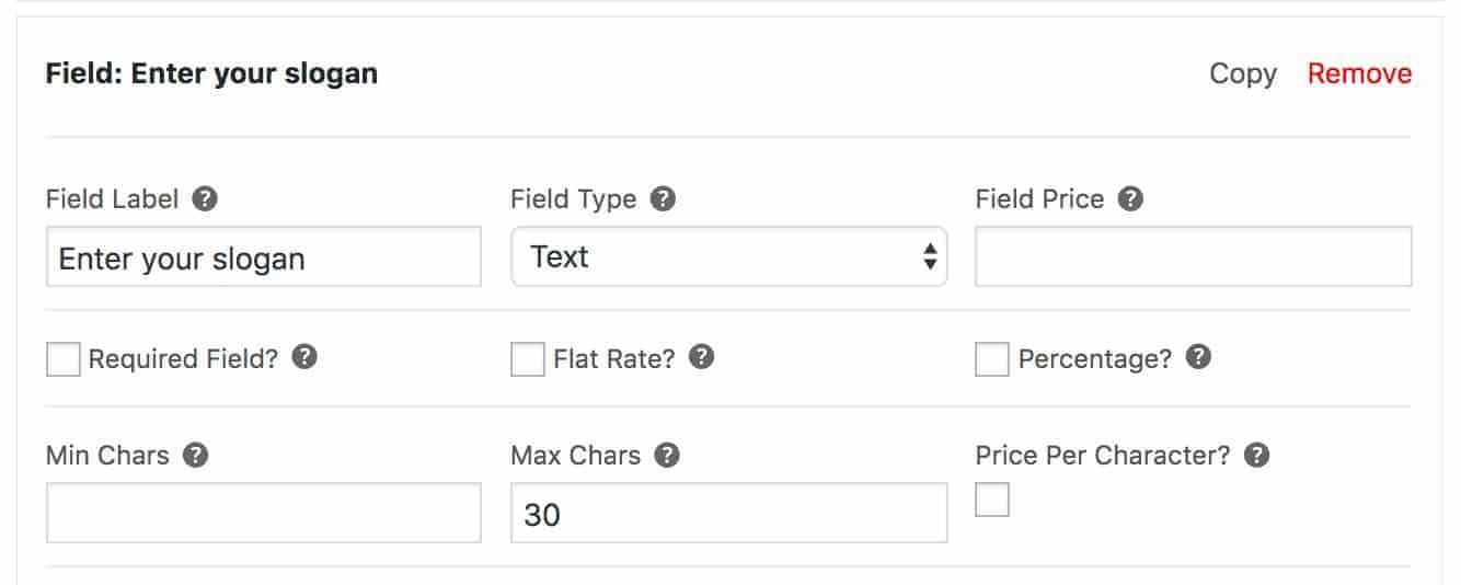 WooCommerce text input field