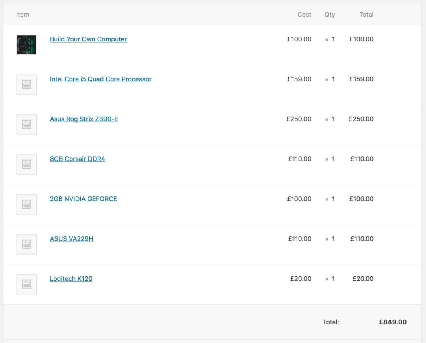 WooCommerce composite product order screen