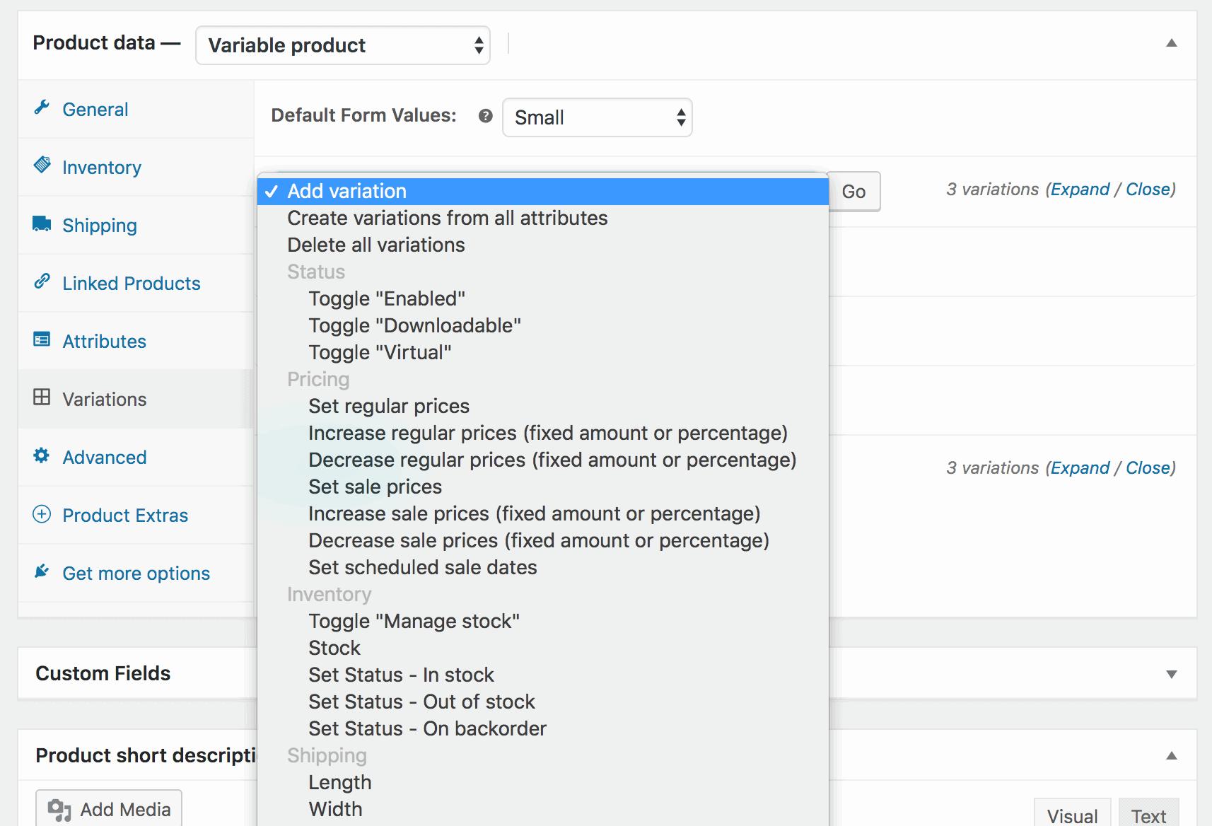 Bulk editing WooCommerce variations