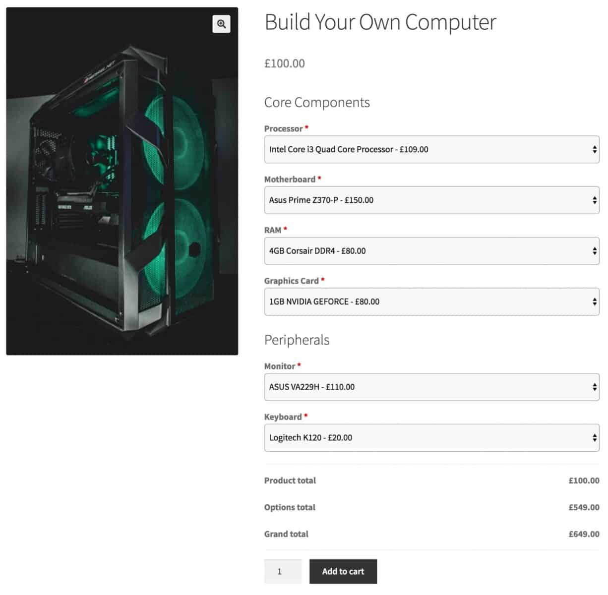 WooCommerce build your own computer product
