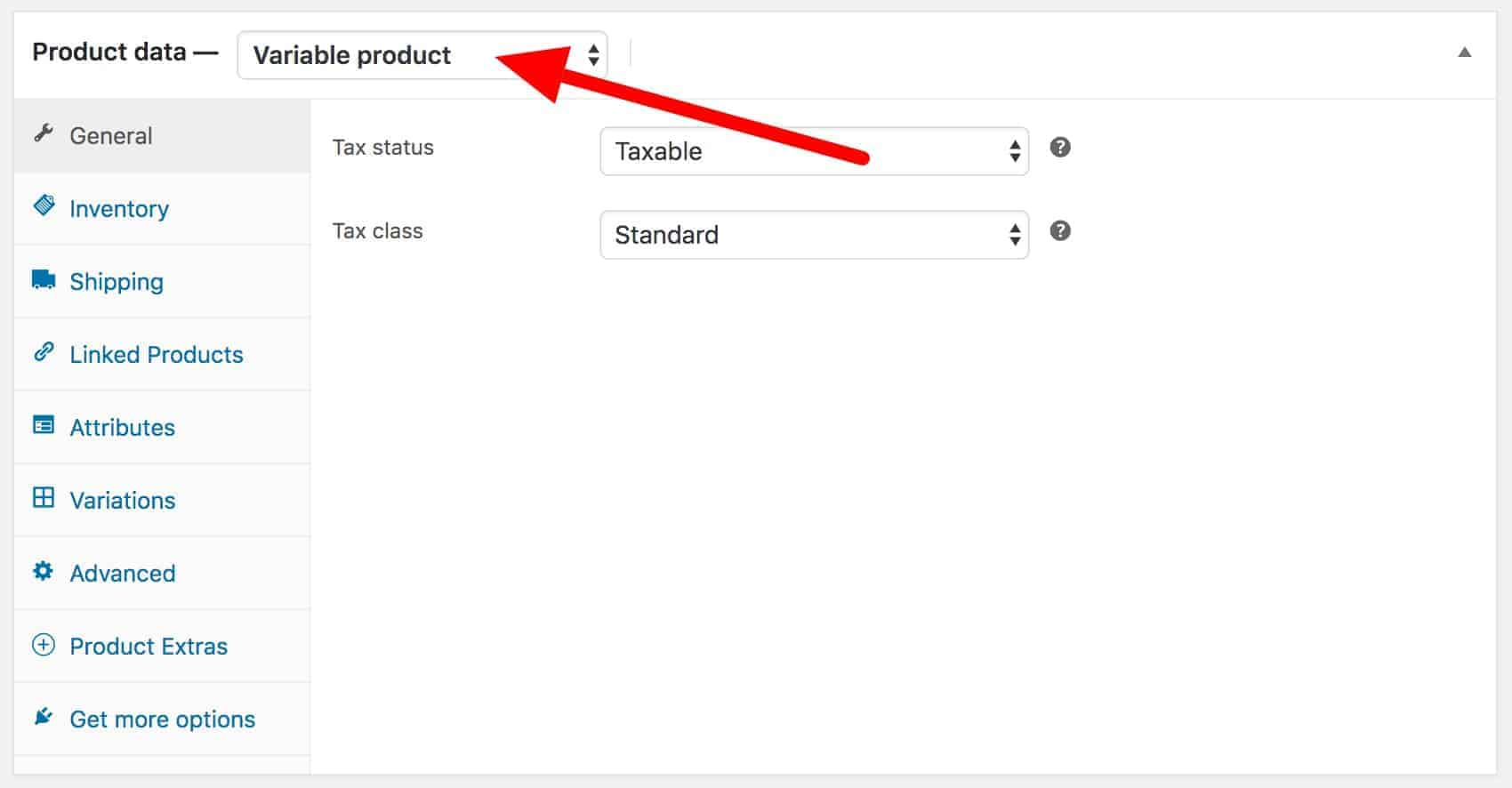 WooCommerce variable product setting