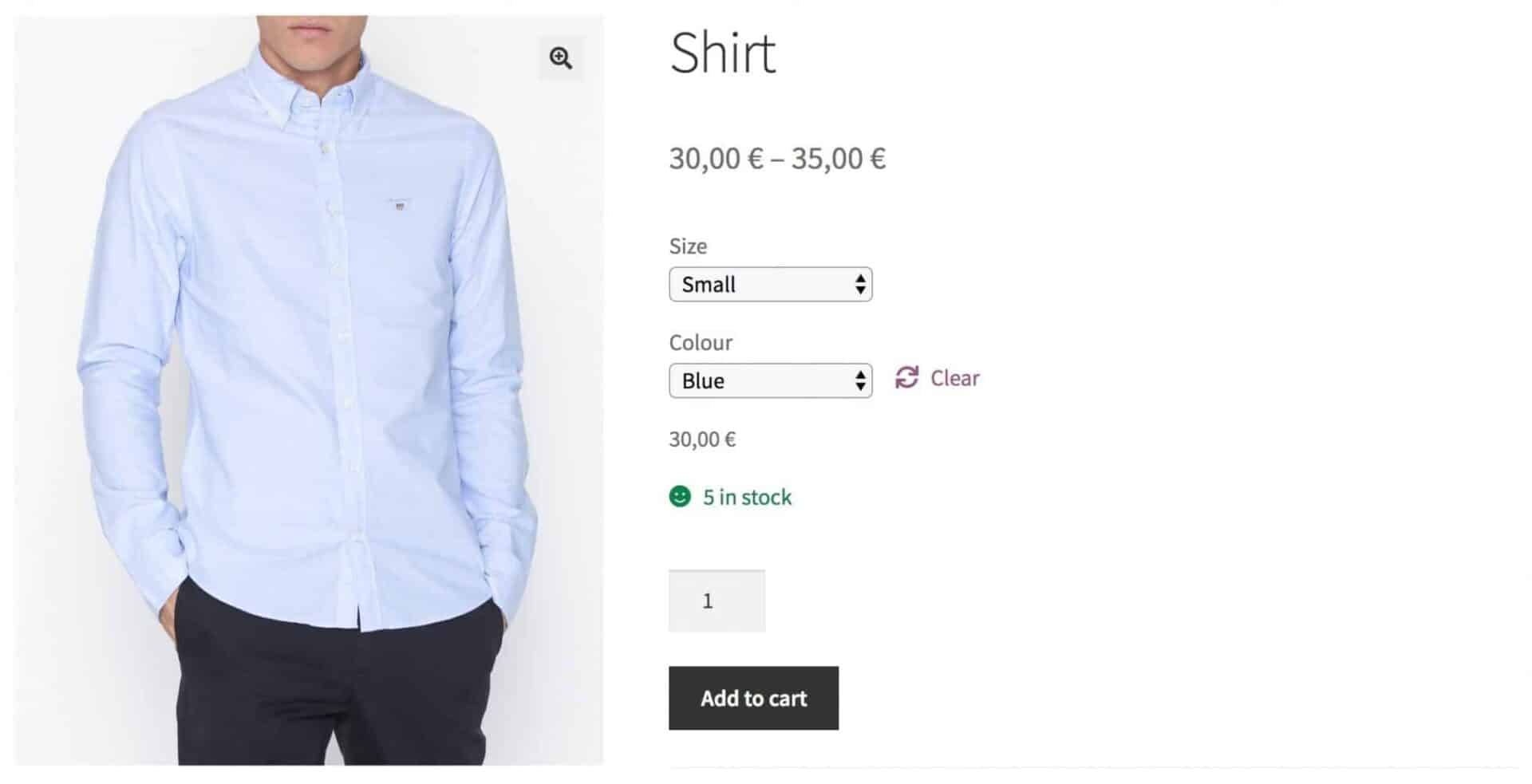 WooCommerce product with two attributes