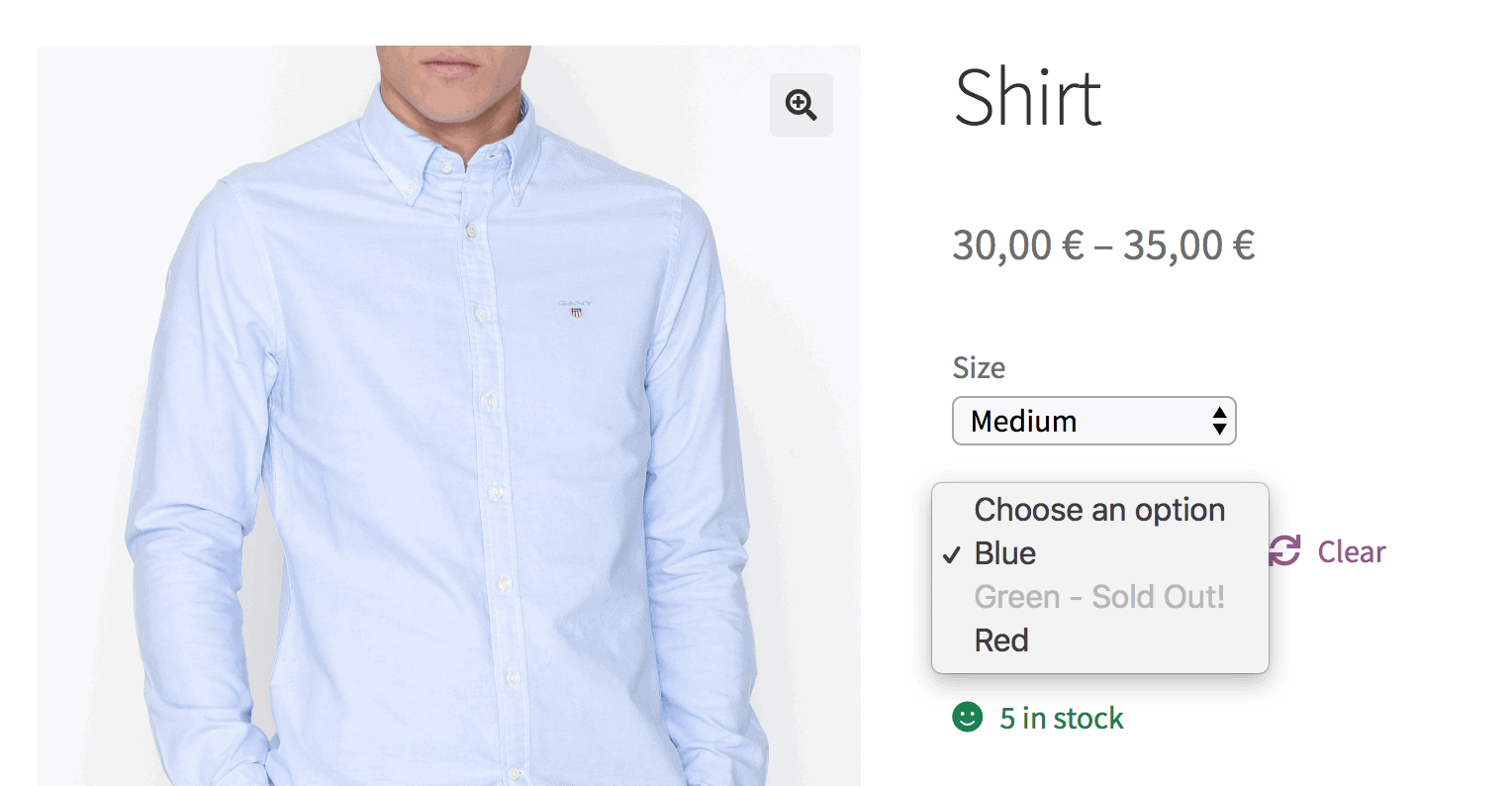 WooCommerce out of stock variation greyed out