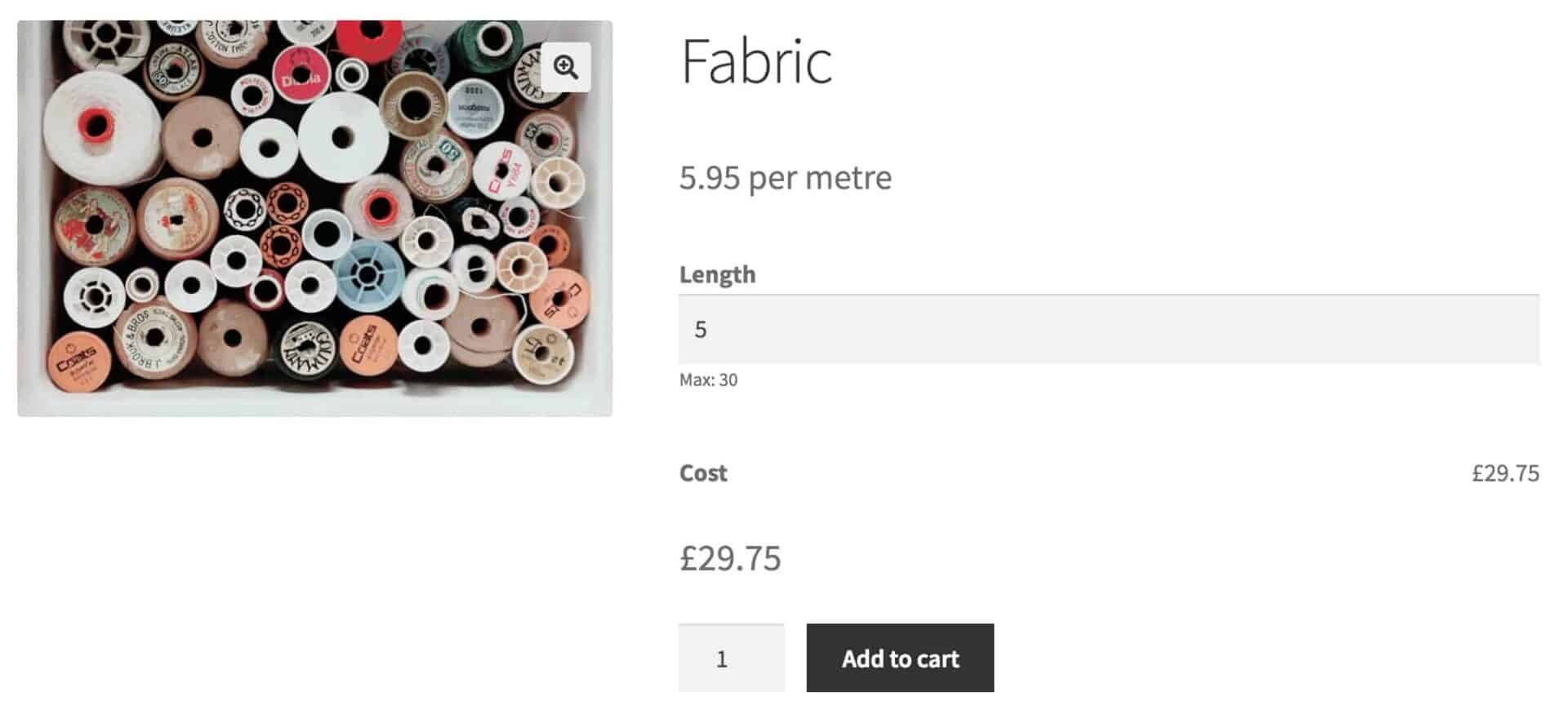 WooCommerce buy fabric by the metre