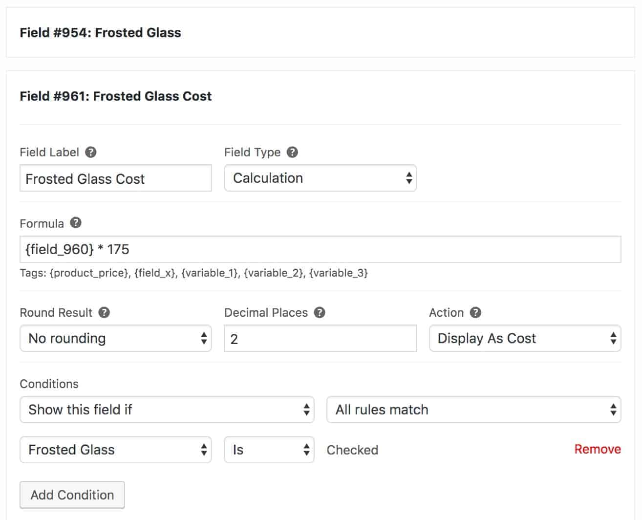 WooCommerce conditional calculation field