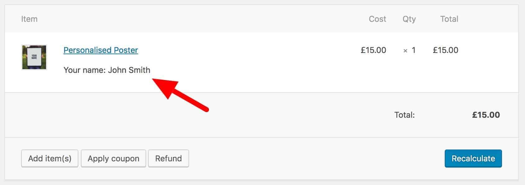 Custom meta data in WooCommerce order screen admin