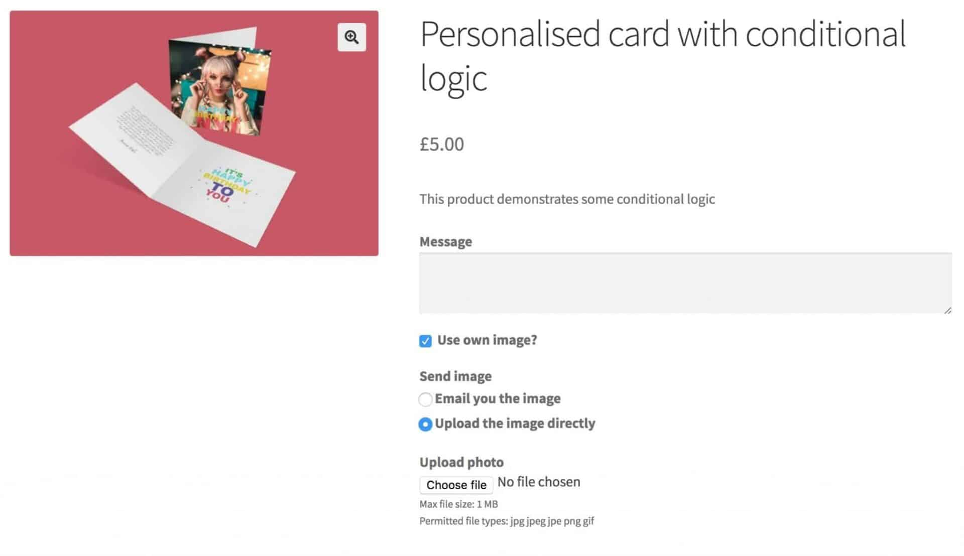 Personalised card with conditional logic
