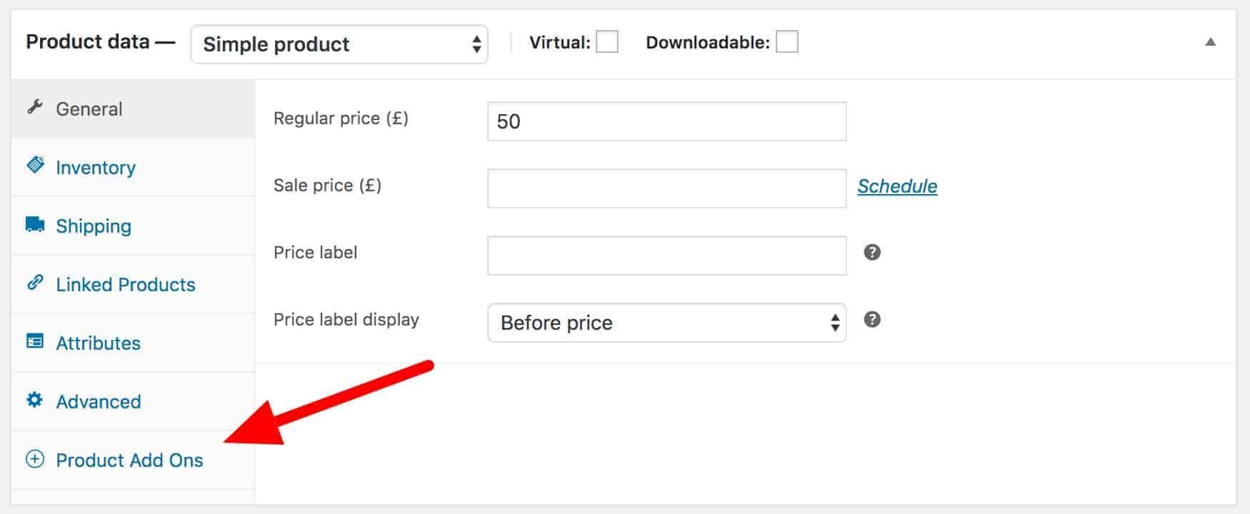 WooCommerce Product Add-Ons tab