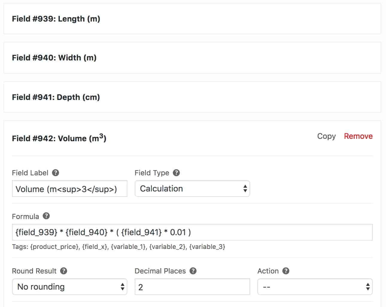 WooCommerce volume calculation formula