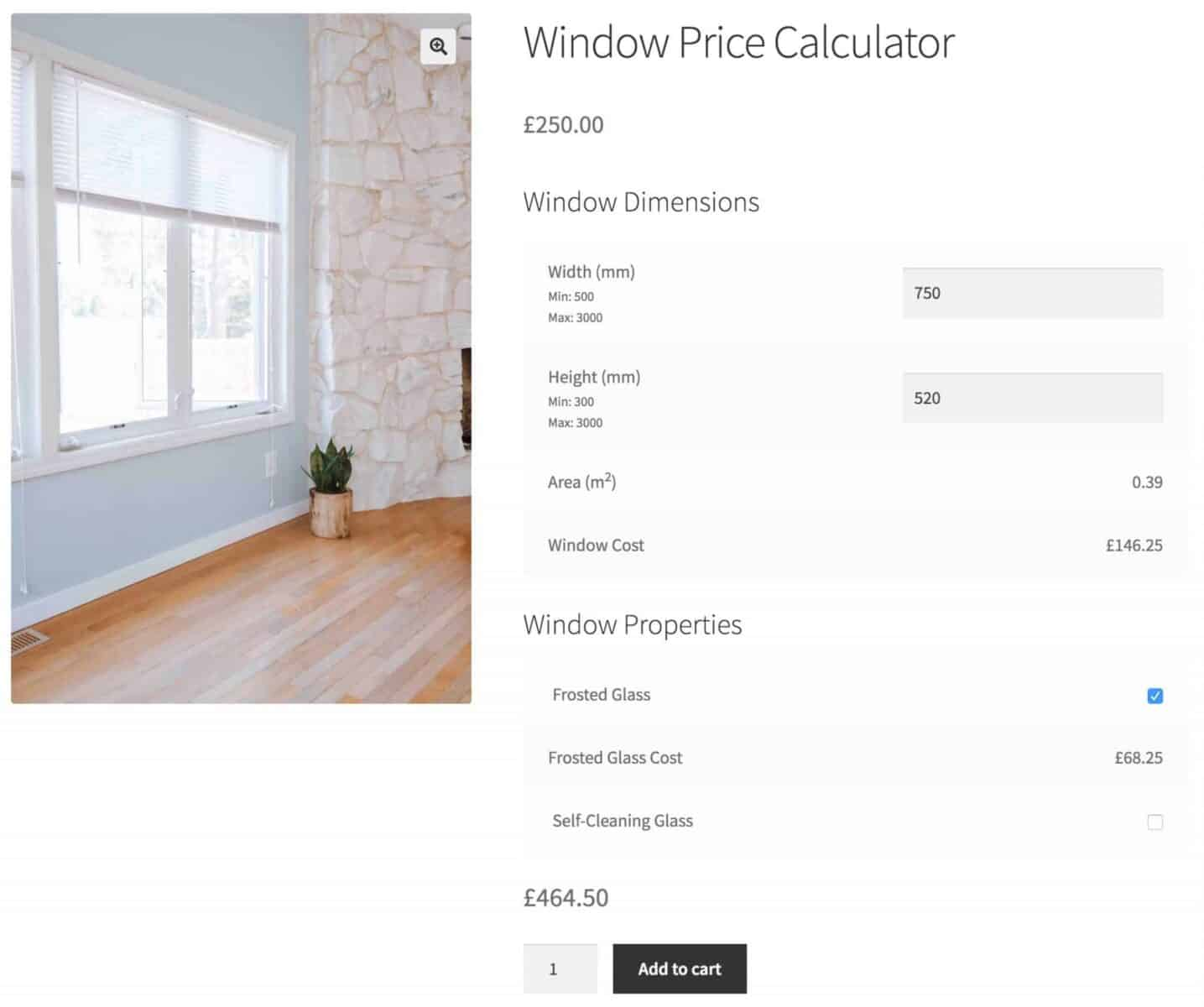 WooCommerce product price calculator for window