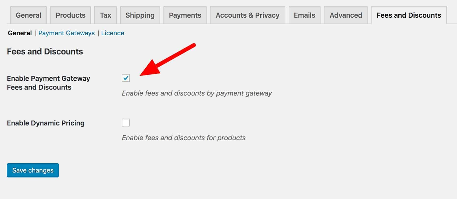 WooCommerce Fees and Discounts settings page