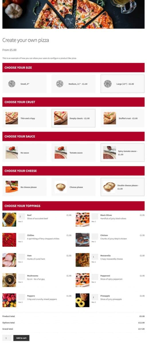 WooCommerce pizza builder product