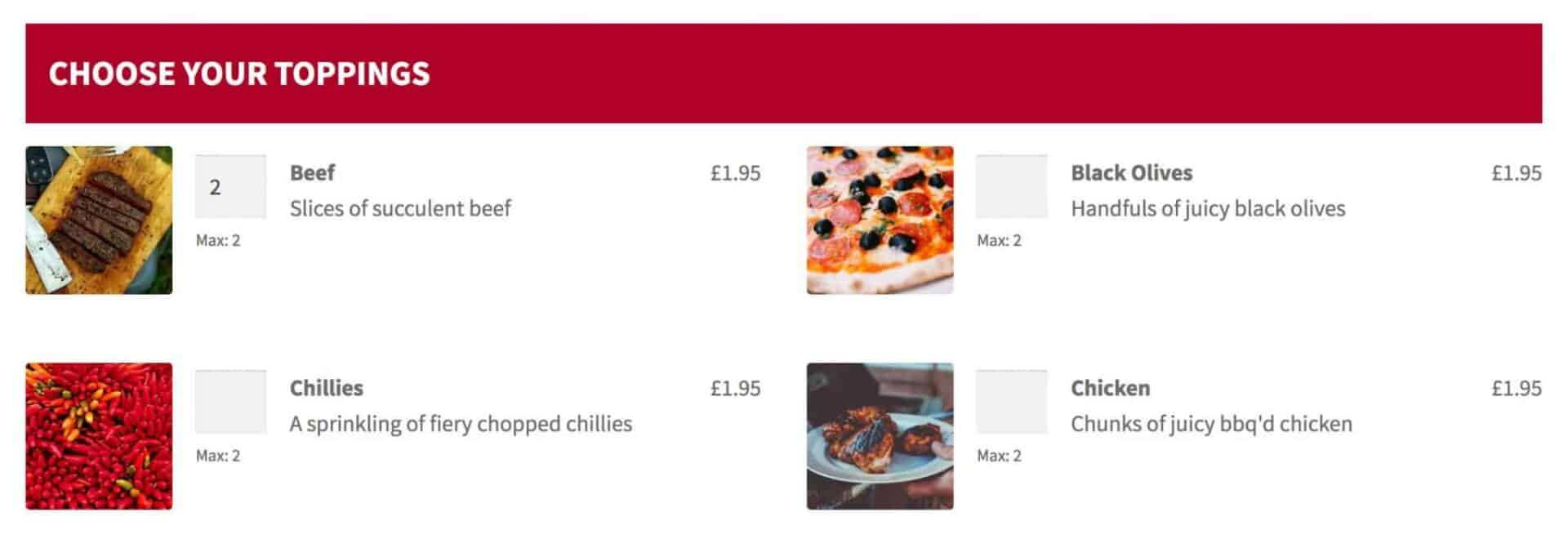 WordPress pizza builder - toppings fields