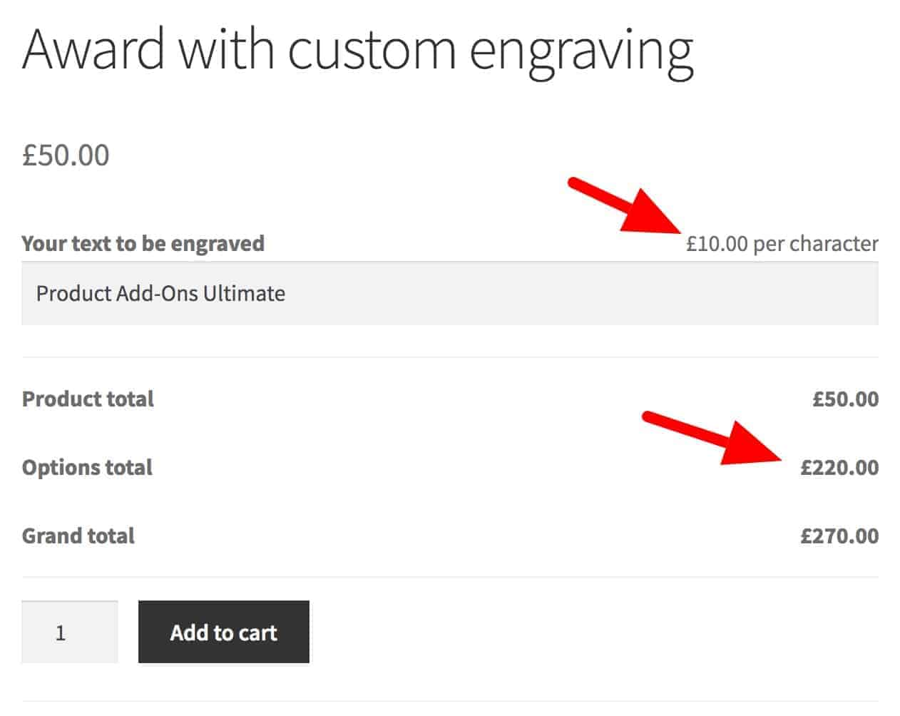 WooCommerce price per character text field