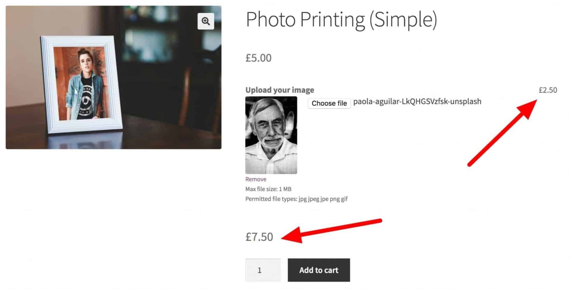 WooCommerce additional price for upload