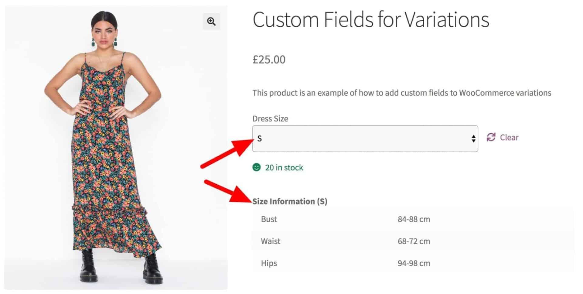 Display custom data for WooCommerce variations