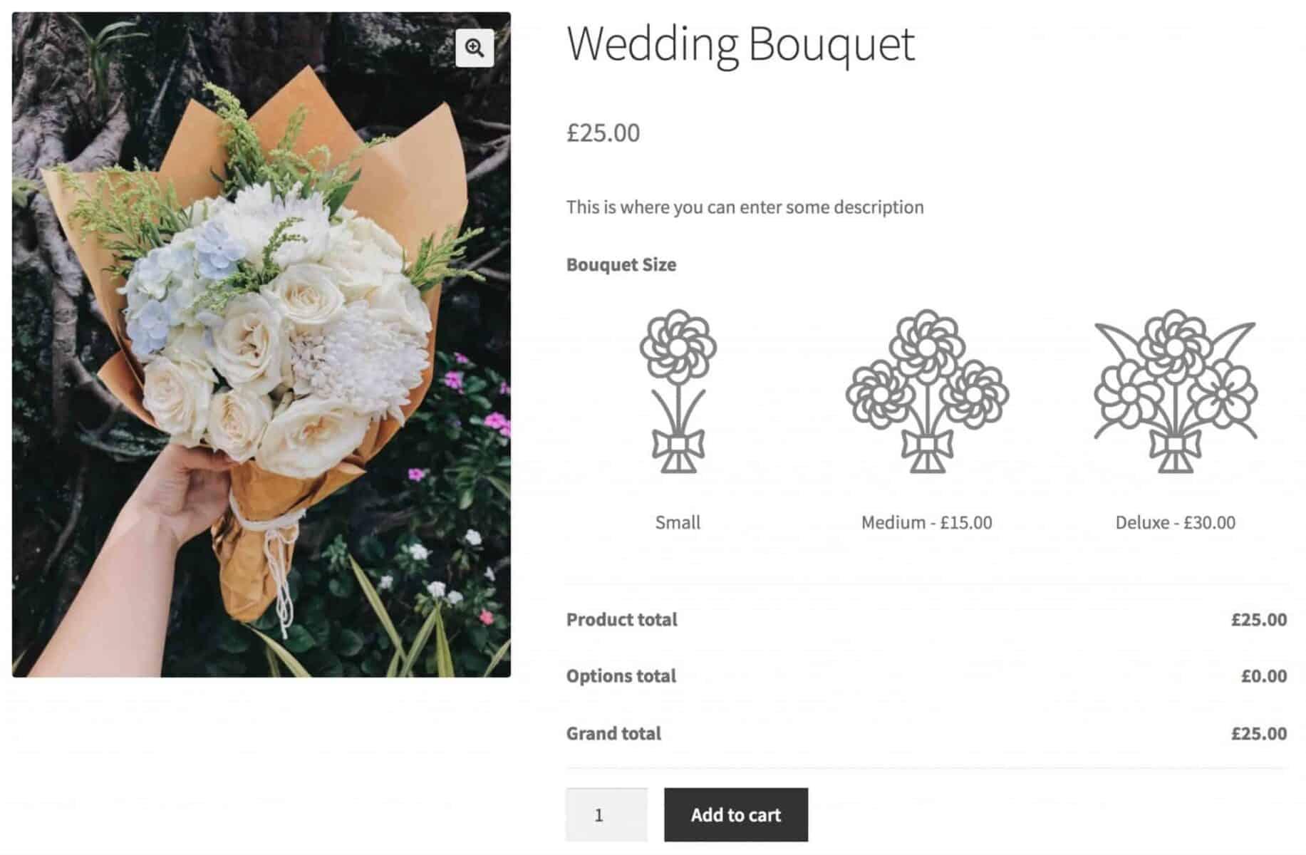 WooCommerce flower shop product