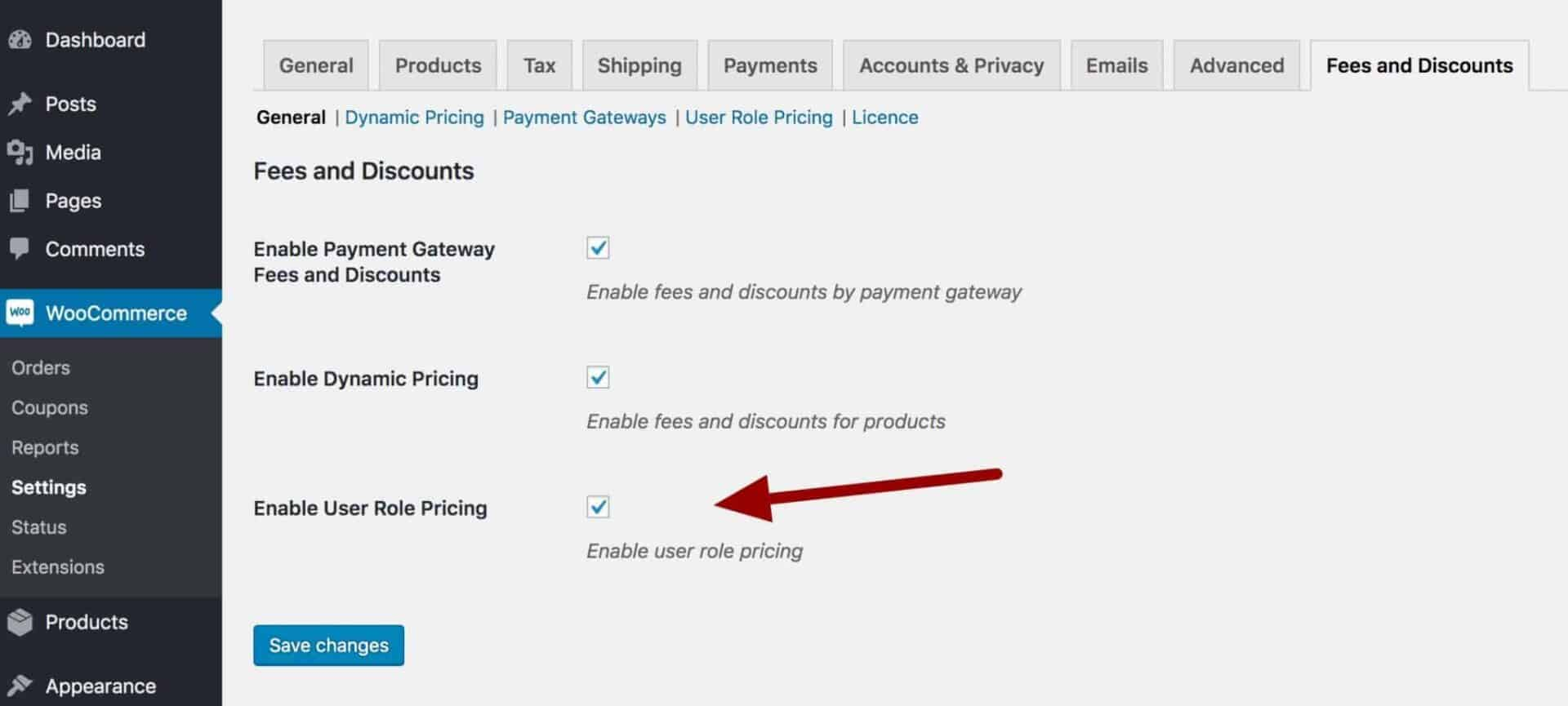 Enable WooCommerce user role pricing