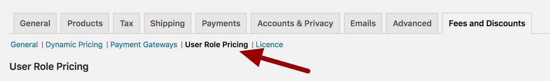 WooCommerce user role pricing settings