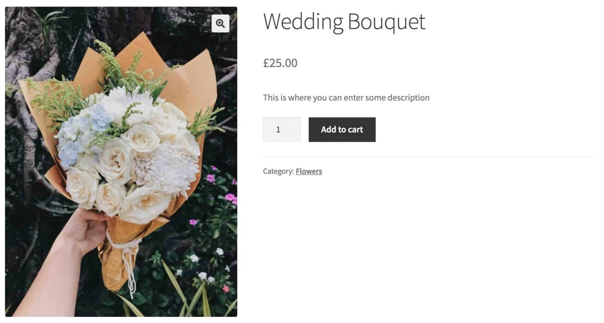 WooCommerce bouquet product