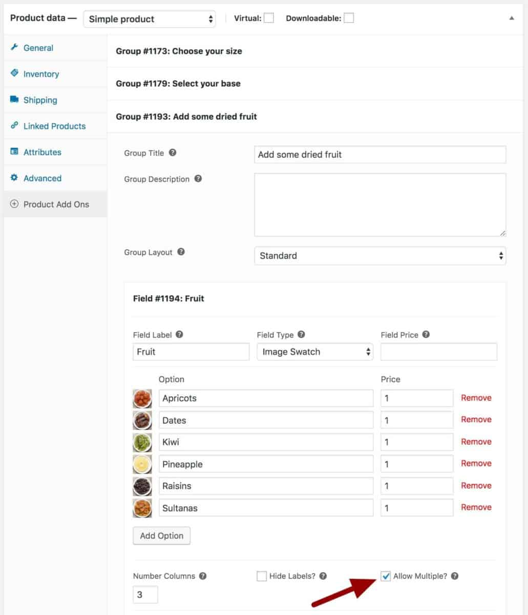 WooCommerce cereal extra ingredients settings