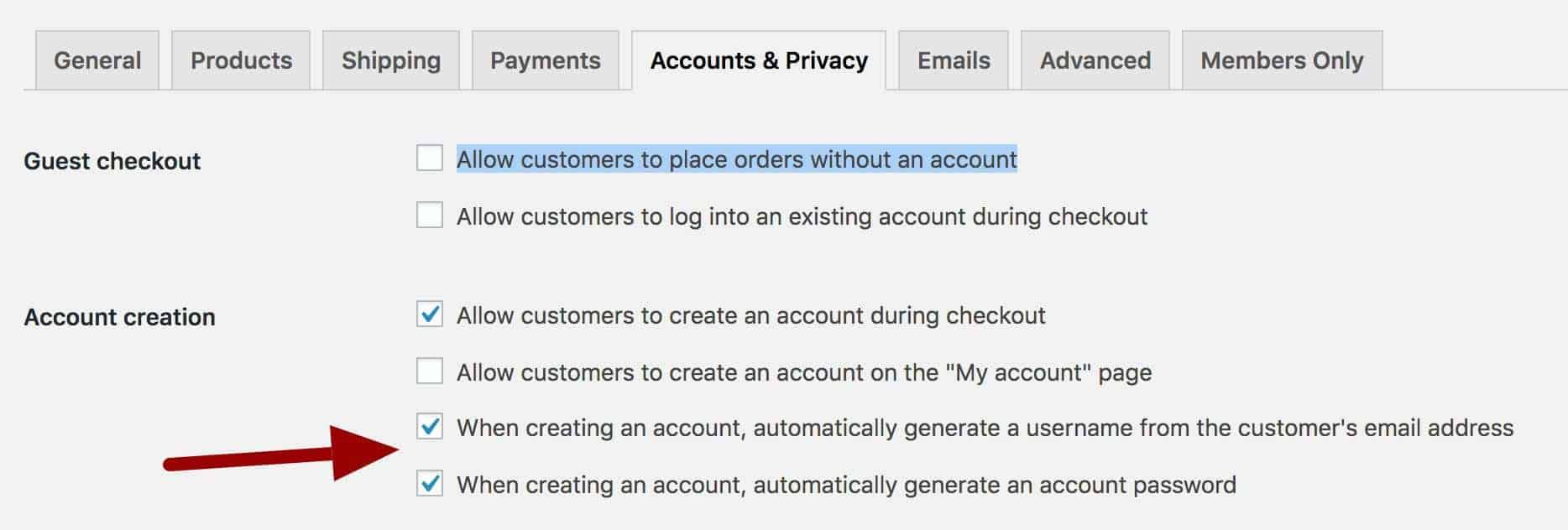 WooCommerce automatically create account new user