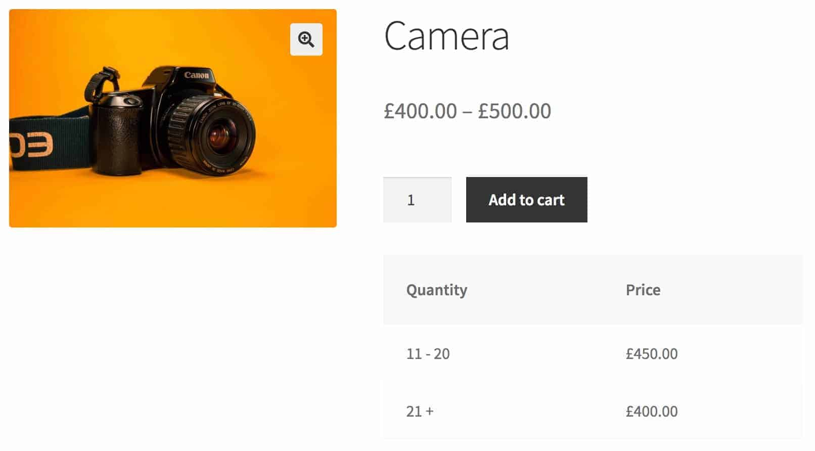WooCommerce percentage discounts pricing table