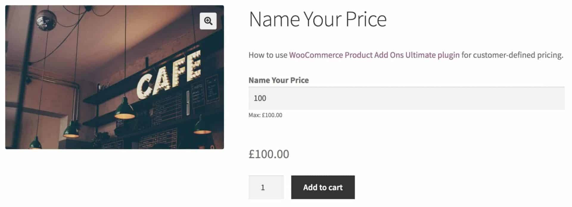 WooCommerce name your price product