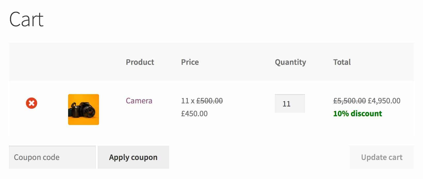 WooCommerce percentage discounts in the cart