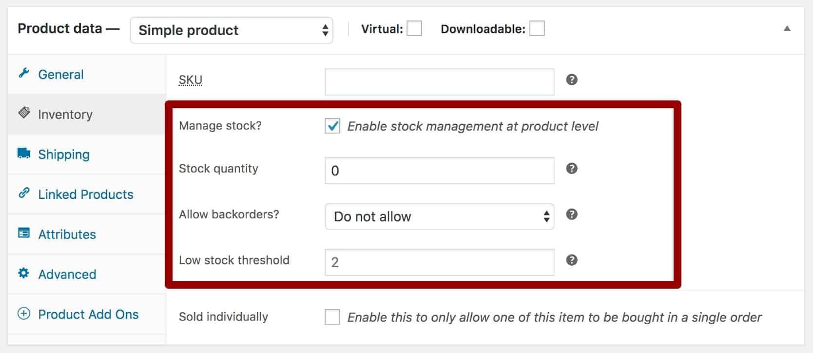 WooCommerce product manage stock option selected