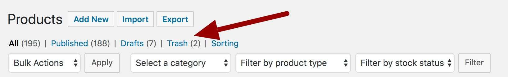 WooCommerce restore deleted product