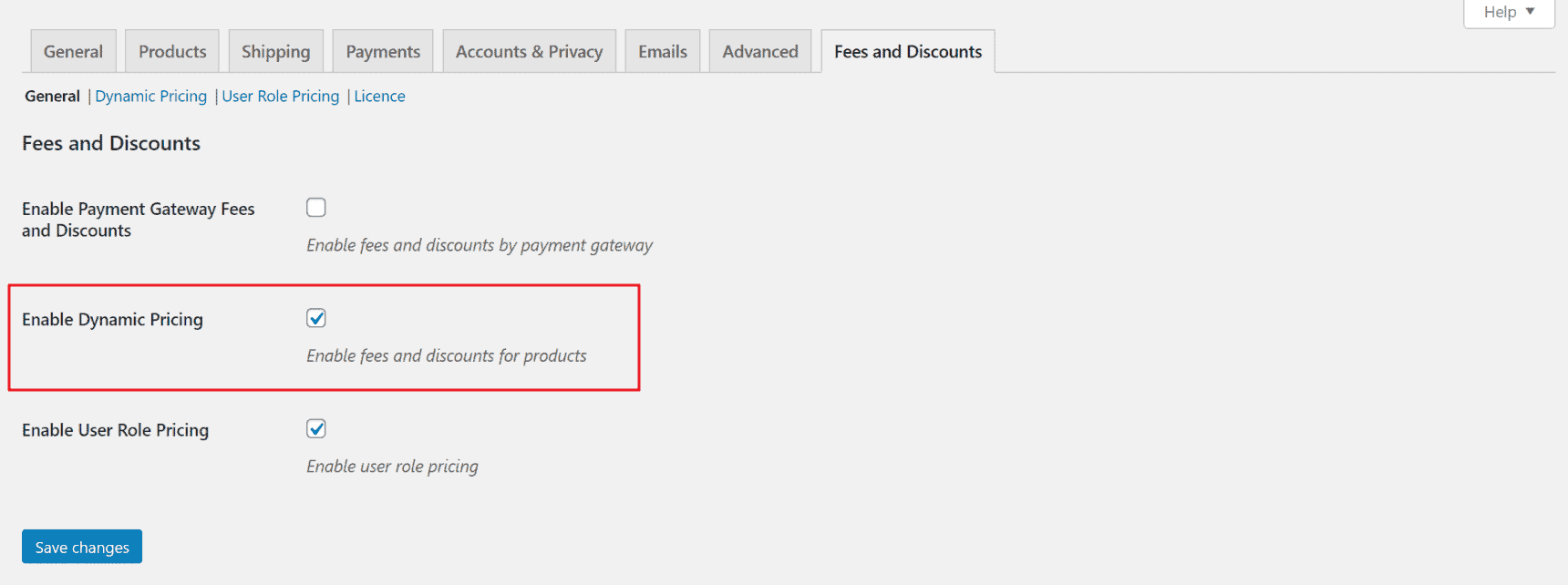 WooCommerce Fees and Discounts dynamic pricing settings