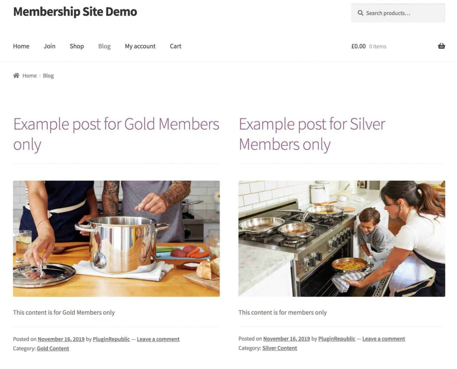 WooCommerce membership site protected blog posts