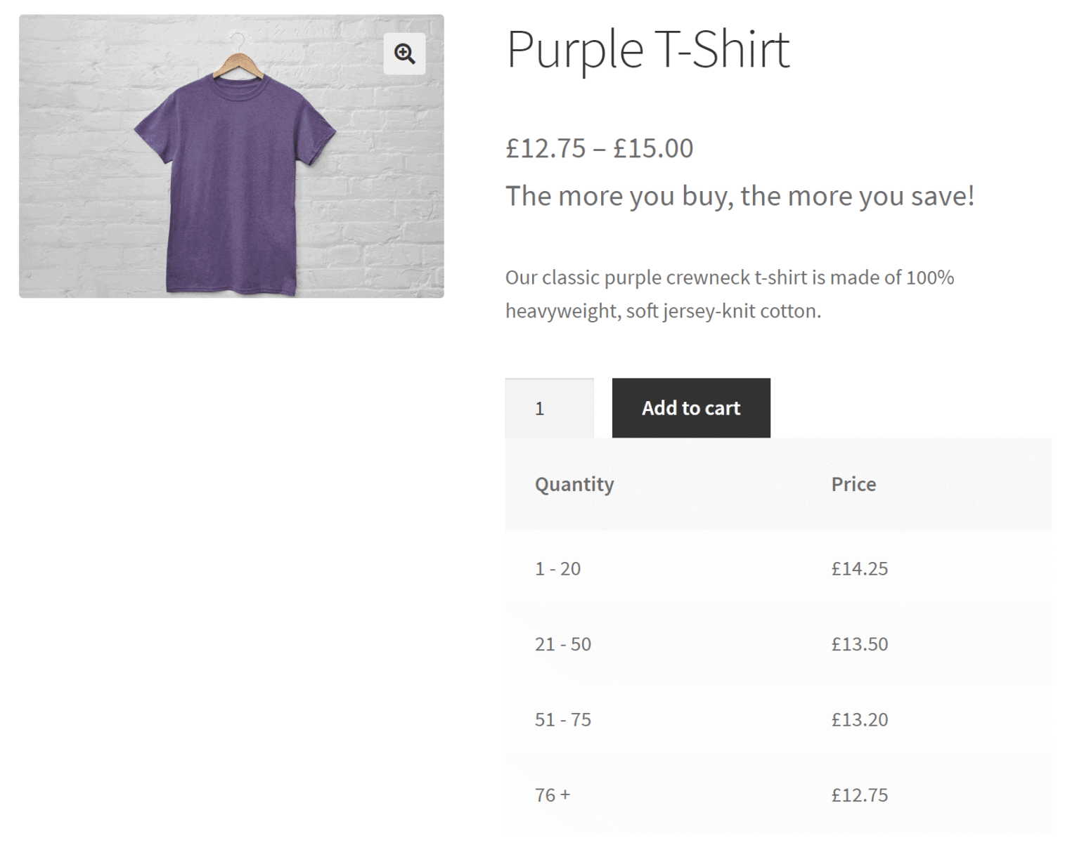 Preview of tiered pricing table on the product page