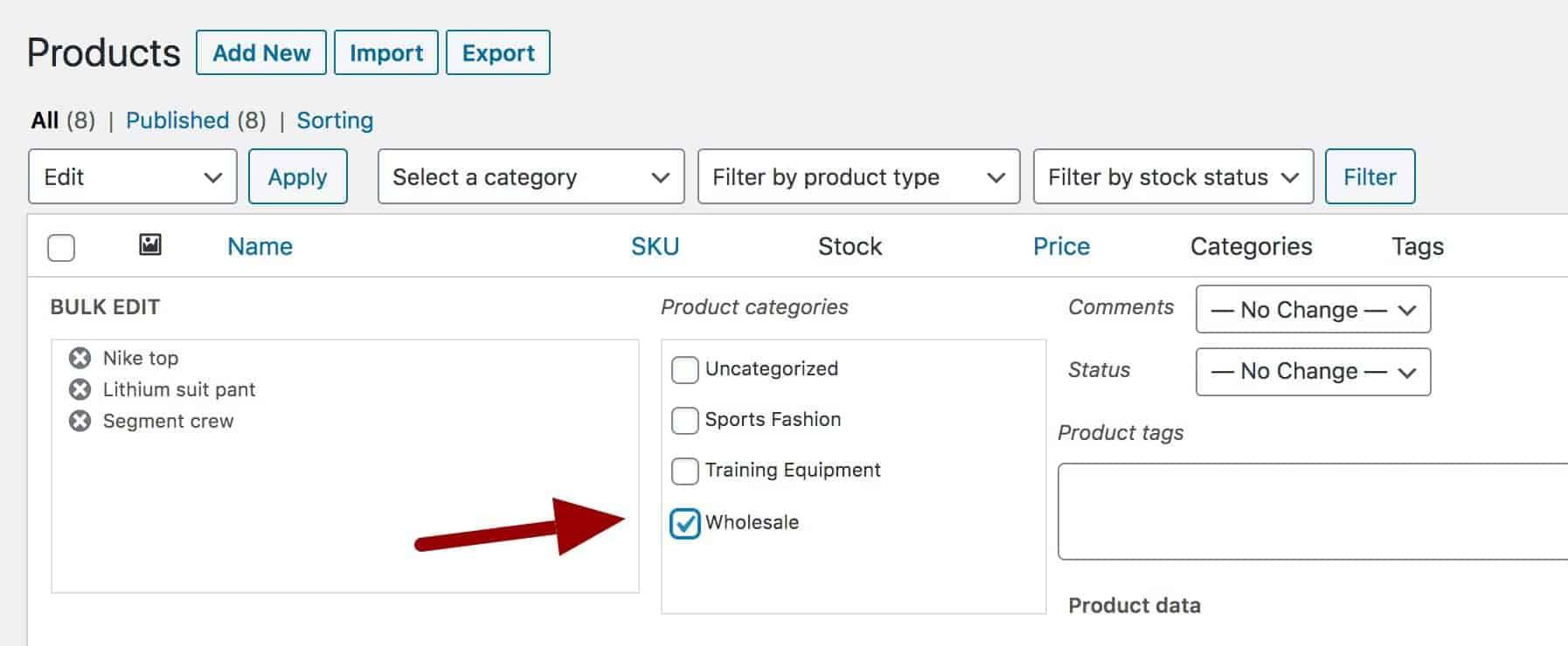 Bulk adding products to WooCommerce wholesale category