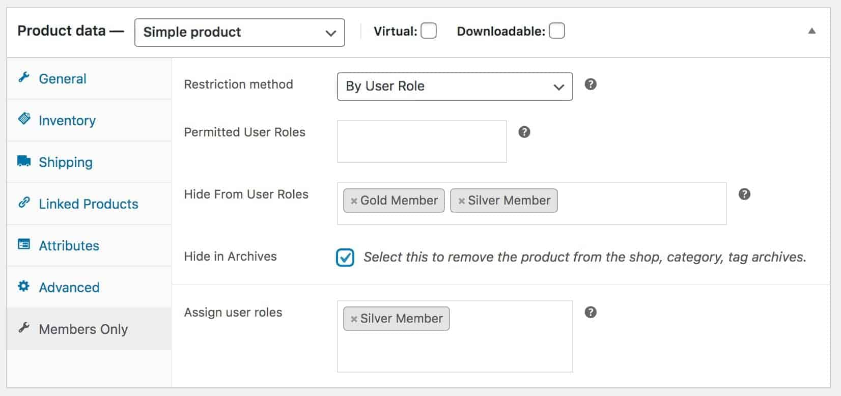 WooCommerce hide products from user roles
