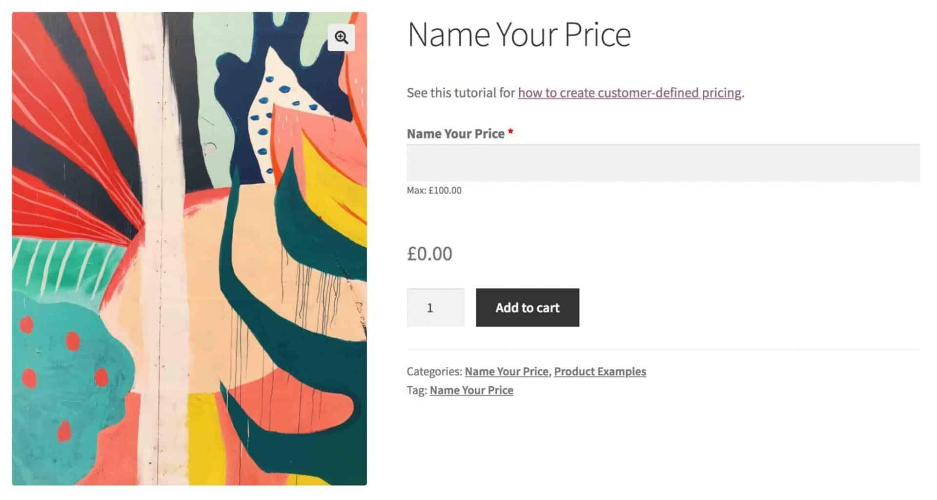 WooCommerce name your own price product